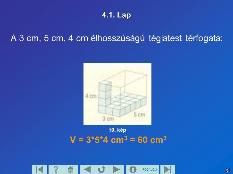 FOGALOM 31 4.1. Lap A 3 cm, 5 cm, 4 cm élhosszúságú téglatest térfogata: V = 3*5*4 cm 3 = 60 cm 3 19. kép