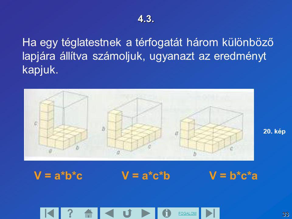FOGALOM 33 4.3. Ha egy téglatestnek a térfogatát három különböző lapjára állítva számoljuk, ugyanazt az eredményt kapjuk. V = a*b*c V = a*c*b V = b*c*