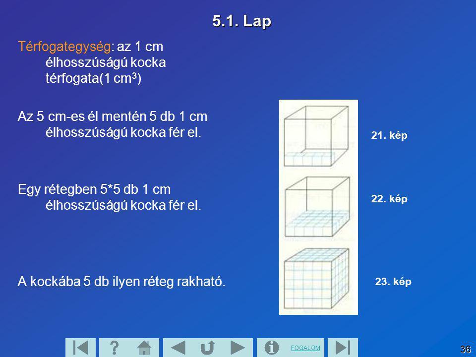 FOGALOM 36 5.1. Lap Térfogategység: az 1 cm élhosszúságú kocka térfogata(1 cm 3 ) Az 5 cm-es él mentén 5 db 1 cm élhosszúságú kocka fér el. Egy rétegb