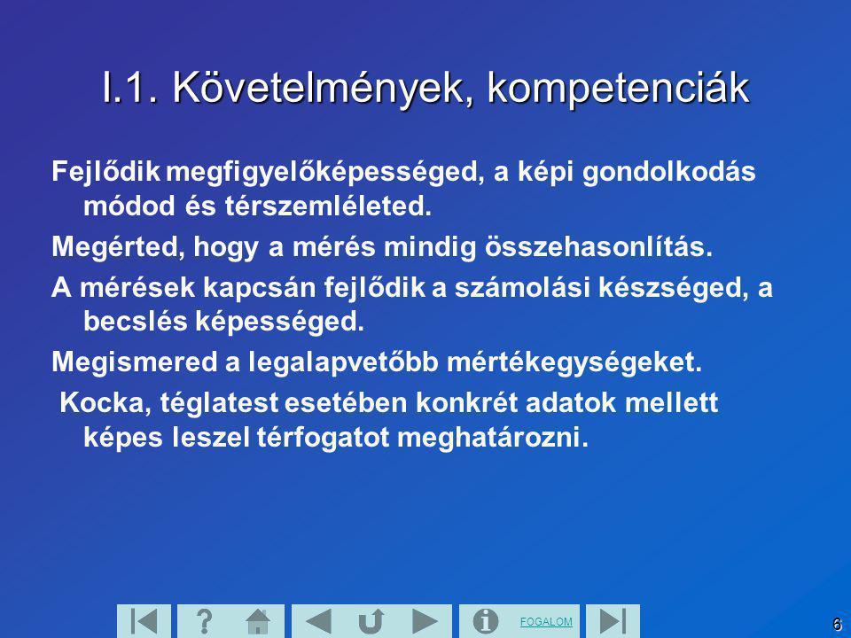 FOGALOM 6 I.1. Követelmények, kompetenciák Fejlődik megfigyelőképességed, a képi gondolkodás módod és térszemléleted. Megérted, hogy a mérés mindig ös