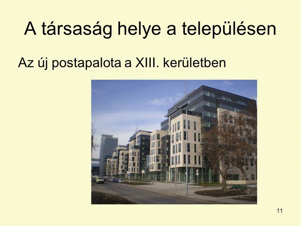 11 A társaság helye a településen Az új postapalota a XIII. kerületben