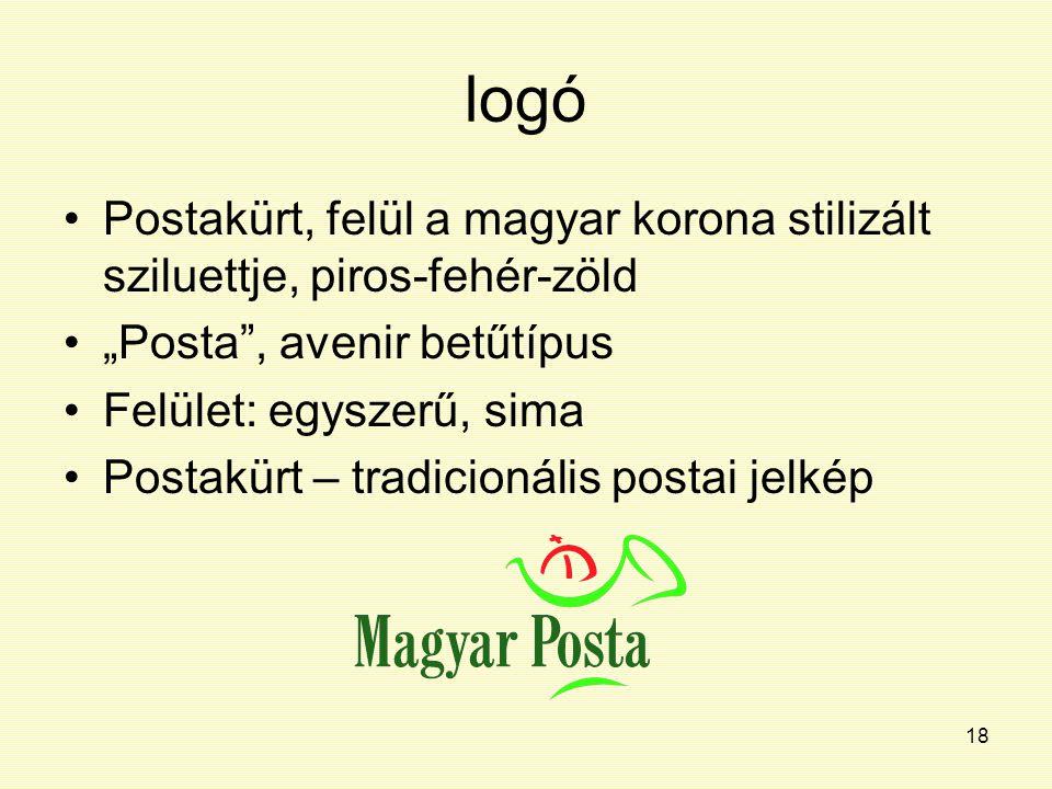 """18 logó Postakürt, felül a magyar korona stilizált sziluettje, piros-fehér-zöld """"Posta"""", avenir betűtípus Felület: egyszerű, sima Postakürt – tradicio"""