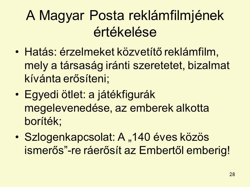 28 A Magyar Posta reklámfilmjének értékelése Hatás: érzelmeket közvetítő reklámfilm, mely a társaság iránti szeretetet, bizalmat kívánta erősíteni; Eg