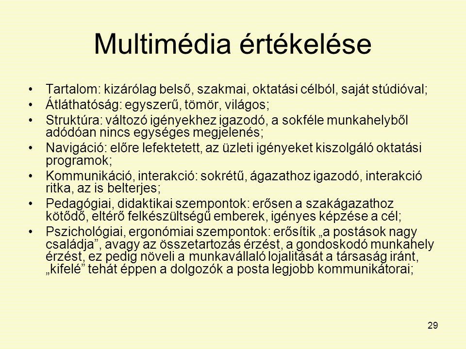 29 Multimédia értékelése Tartalom: kizárólag belső, szakmai, oktatási célból, saját stúdióval; Átláthatóság: egyszerű, tömör, világos; Struktúra: vált