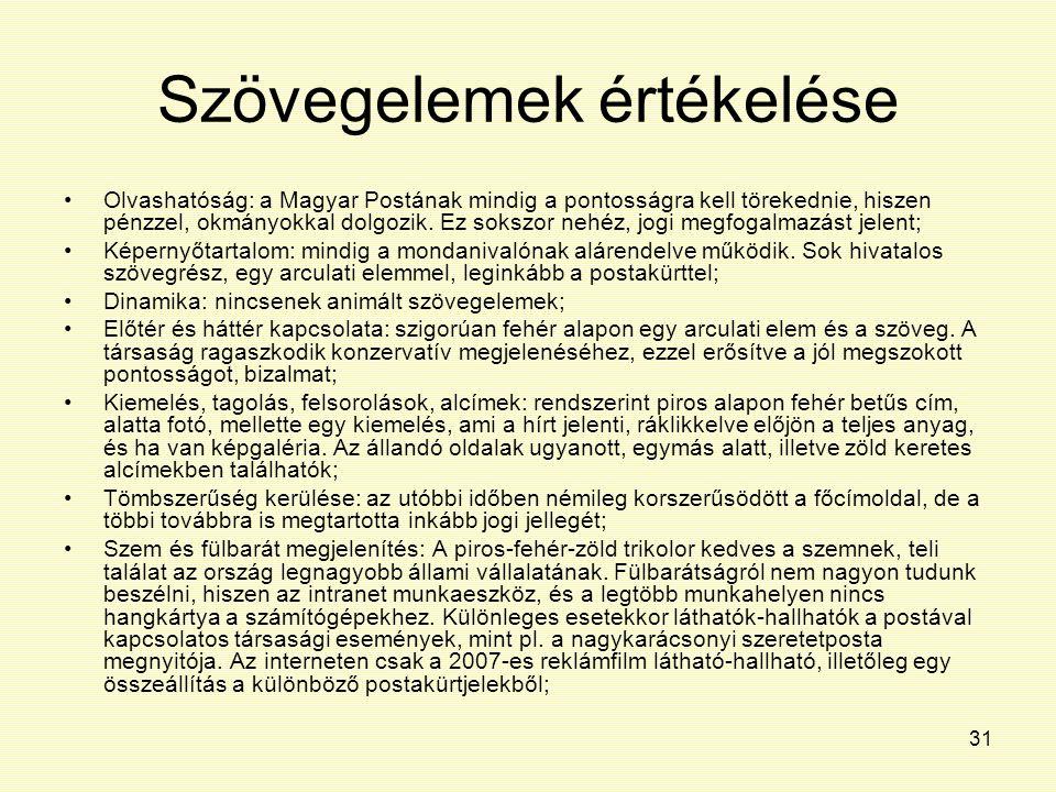 31 Szövegelemek értékelése Olvashatóság: a Magyar Postának mindig a pontosságra kell törekednie, hiszen pénzzel, okmányokkal dolgozik. Ez sokszor nehé