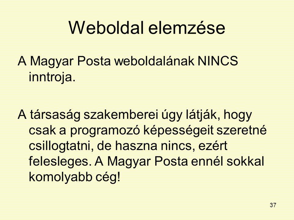 37 Weboldal elemzése A Magyar Posta weboldalának NINCS inntroja. A társaság szakemberei úgy látják, hogy csak a programozó képességeit szeretné csillo