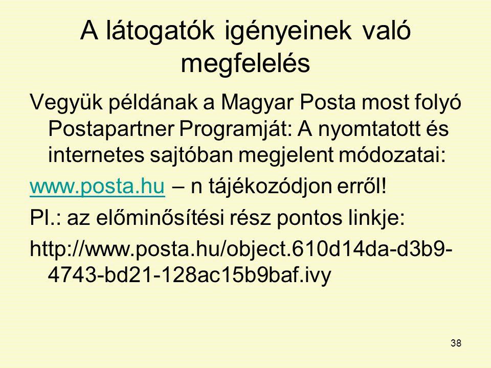 38 A látogatók igényeinek való megfelelés Vegyük példának a Magyar Posta most folyó Postapartner Programját: A nyomtatott és internetes sajtóban megje