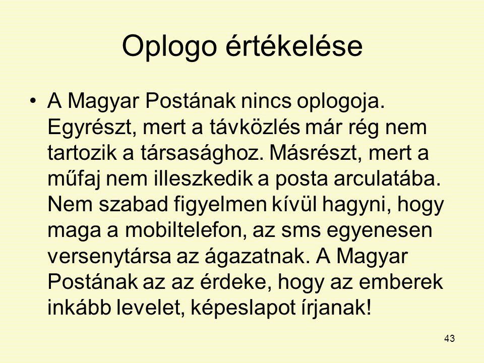 43 Oplogo értékelése A Magyar Postának nincs oplogoja. Egyrészt, mert a távközlés már rég nem tartozik a társasághoz. Másrészt, mert a műfaj nem illes