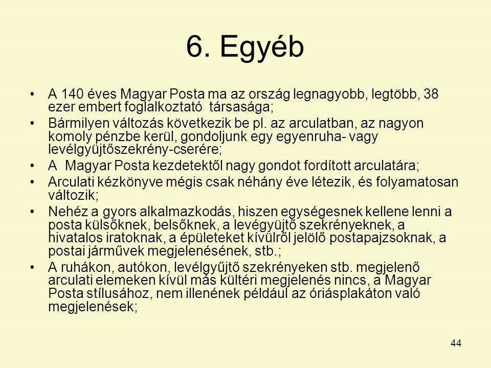 44 6. Egyéb A 140 éves Magyar Posta ma az ország legnagyobb, legtöbb, 38 ezer embert foglalkoztató társasága; Bármilyen változás következik be pl. az
