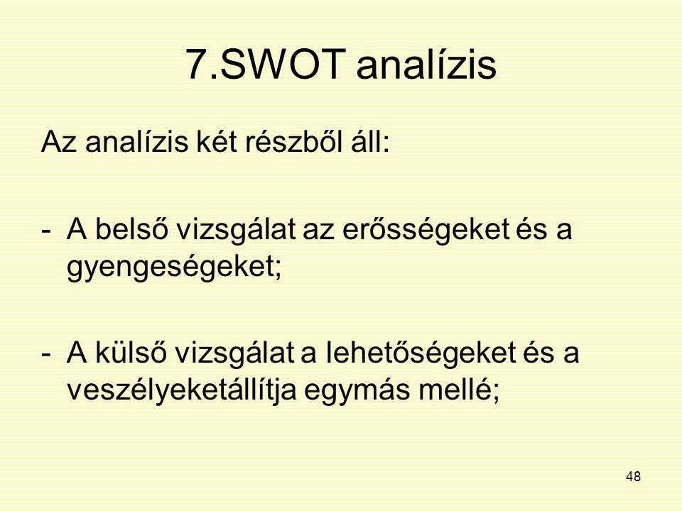 48 7.SWOT analízis Az analízis két részből áll: -A belső vizsgálat az erősségeket és a gyengeségeket; -A külső vizsgálat a lehetőségeket és a veszélye