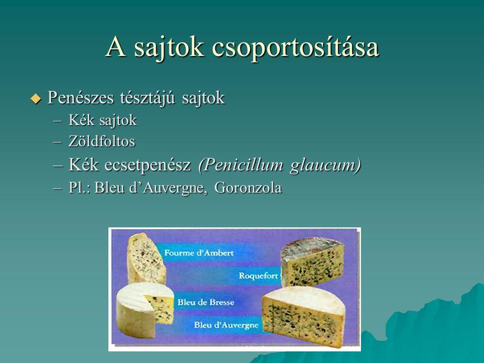 A sajtok csoportosítása  Penészes tésztájú sajtok –Kék sajtok –Zöldfoltos –Kék ecsetpenész (Penicillum glaucum) –Pl.: Bleu d'Auvergne, Goronzola