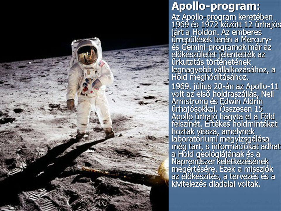Apollo-program: Apollo-program: Az Apollo-program keretében 1969 és 1972 között 12 űrhajós járt a Holdon.