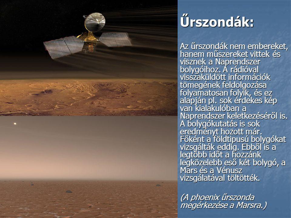 Űrszondák: Űrszondák: Az űrszondák nem embereket, hanem műszereket vittek és visznek a Naprendszer bolygóihoz.