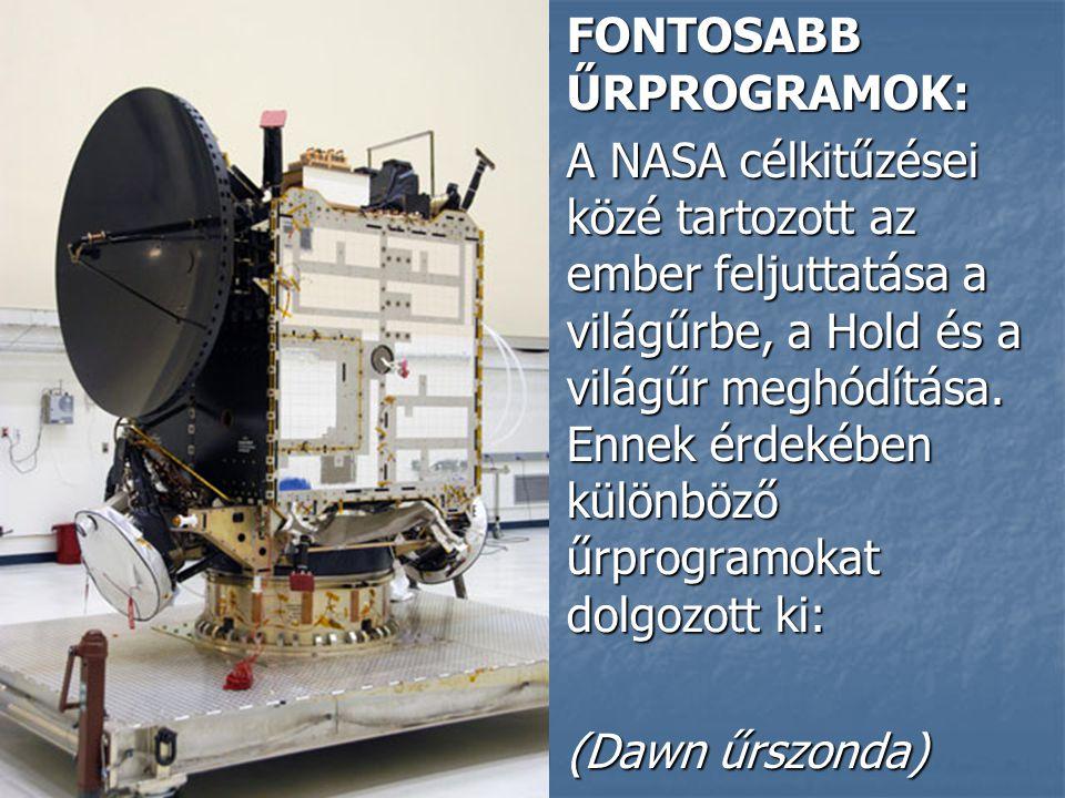 FONTOSABB ŰRPROGRAMOK: FONTOSABB ŰRPROGRAMOK: A NASA célkitűzései közé tartozott az ember feljuttatása a világűrbe, a Hold és a világűr meghódítása.