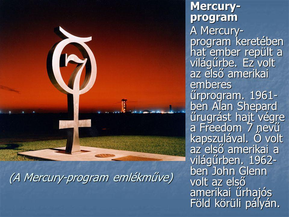 (A Mercury-program emlékműve) Mercury- program Mercury- program A Mercury- program keretében hat ember repült a világűrbe.