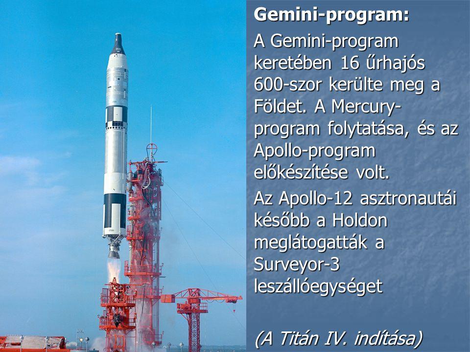 Gemini-program: Gemini-program: A Gemini-program keretében 16 űrhajós 600-szor kerülte meg a Földet.
