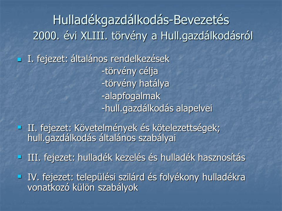 Hulladékgazdálkodás-Bevezetés 2000. évi XLIII. törvény a Hull.gazdálkodásról I. fejezet: általános rendelkezések I. fejezet: általános rendelkezések -