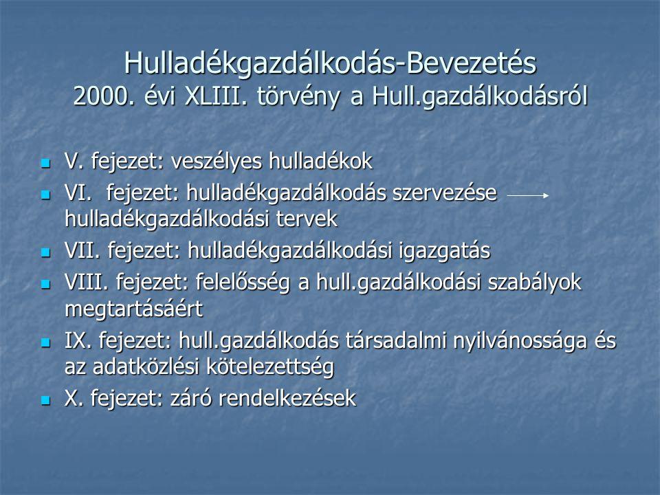 Hulladékgazdálkodás-Bevezetés 2000. évi XLIII. törvény a Hull.gazdálkodásról V. fejezet: veszélyes hulladékok V. fejezet: veszélyes hulladékok VI. fej