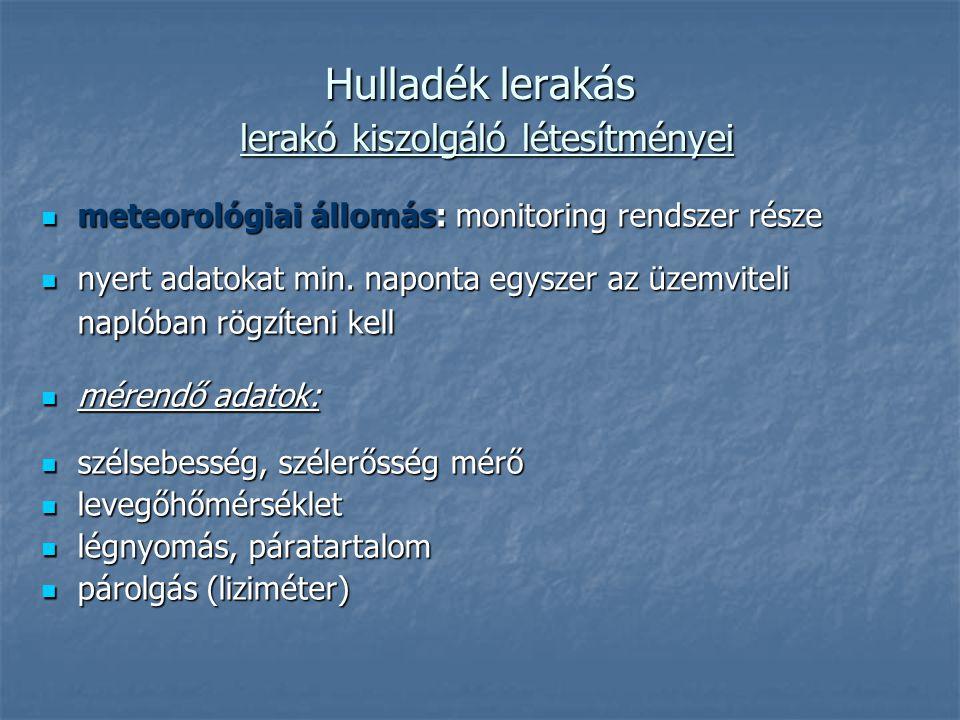 Hulladék lerakás lerakó kiszolgáló létesítményei meteorológiai állomás: monitoring rendszer része meteorológiai állomás: monitoring rendszer része nye