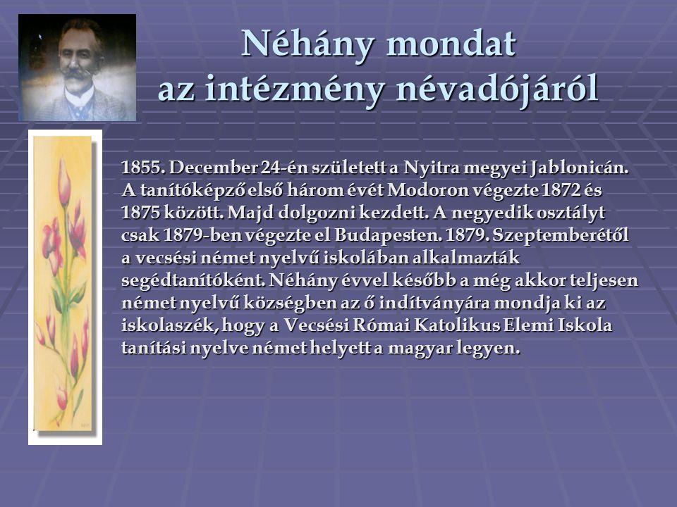 Néhány mondat az intézmény névadójáról 1855. December 24-én született a Nyitra megyei Jablonicán. A tanítóképző első három évét Modoron végezte 1872 é