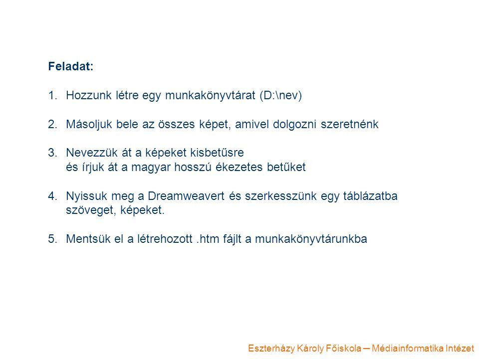 Eszterházy Károly Főiskola ─ Médiainformatika Intézet Feladat: 1.Hozzunk létre egy munkakönyvtárat (D:\nev) 2.Másoljuk bele az összes képet, amivel do