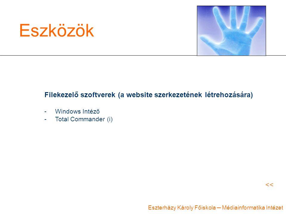 Eszterházy Károly Főiskola ─ Médiainformatika Intézet Eszközök Filekezelő szoftverek (a website szerkezetének létrehozására) -Windows Intéző -Total Commander (i) <<