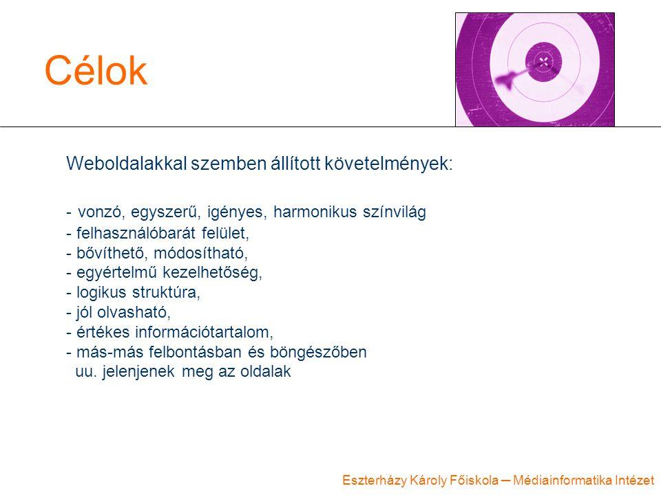 Eszterházy Károly Főiskola ─ Médiainformatika Intézet Célok Weboldalakkal szemben állított követelmények: - vonzó, egyszerű, igényes, harmonikus színv
