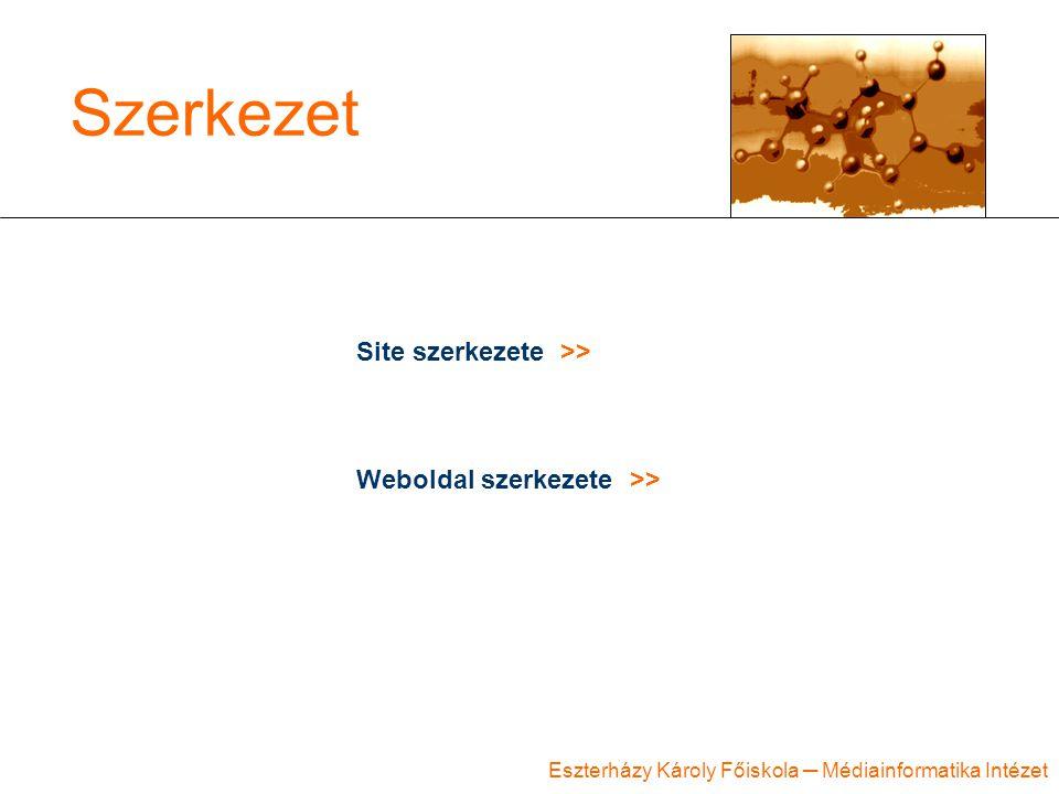 Eszterházy Károly Főiskola ─ Médiainformatika Intézet Szerkezet Site szerkezete >> Weboldal szerkezete >>
