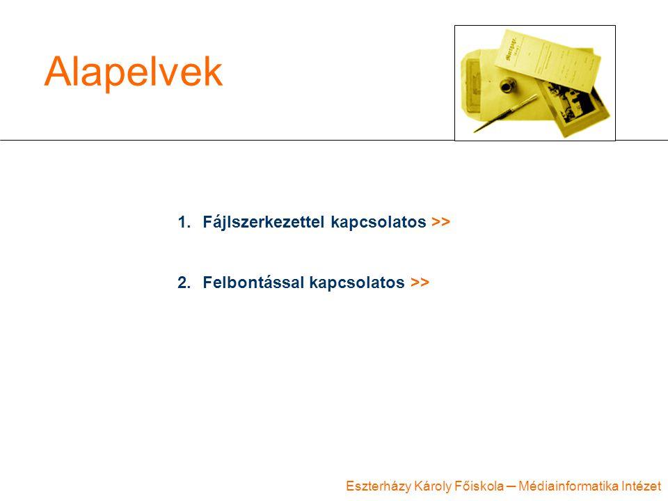 Eszterházy Károly Főiskola ─ Médiainformatika Intézet Alapelvek 1.Fájlszerkezettel kapcsolatos >> 2.Felbontással kapcsolatos >>