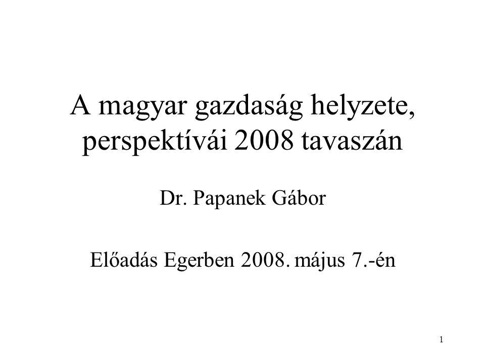 1 A magyar gazdaság helyzete, perspektívái 2008 tavaszán Dr.