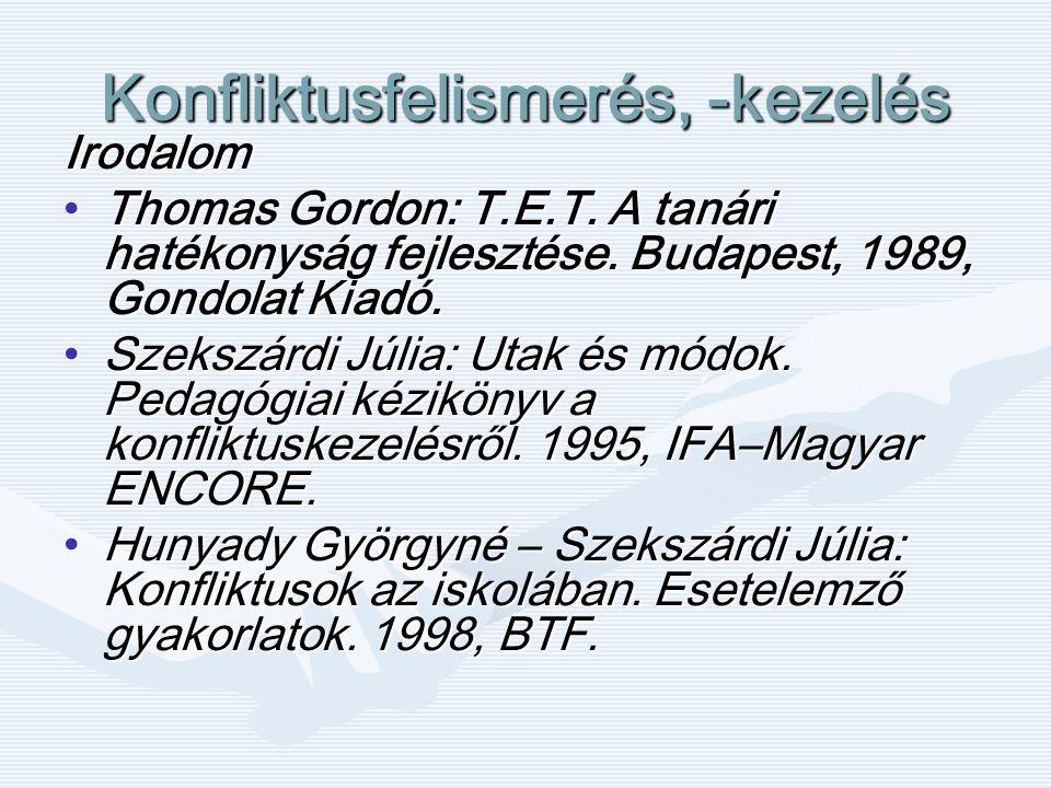 Konfliktusfelismerés, -kezelés Irodalom Thomas Gordon: T.E.T.
