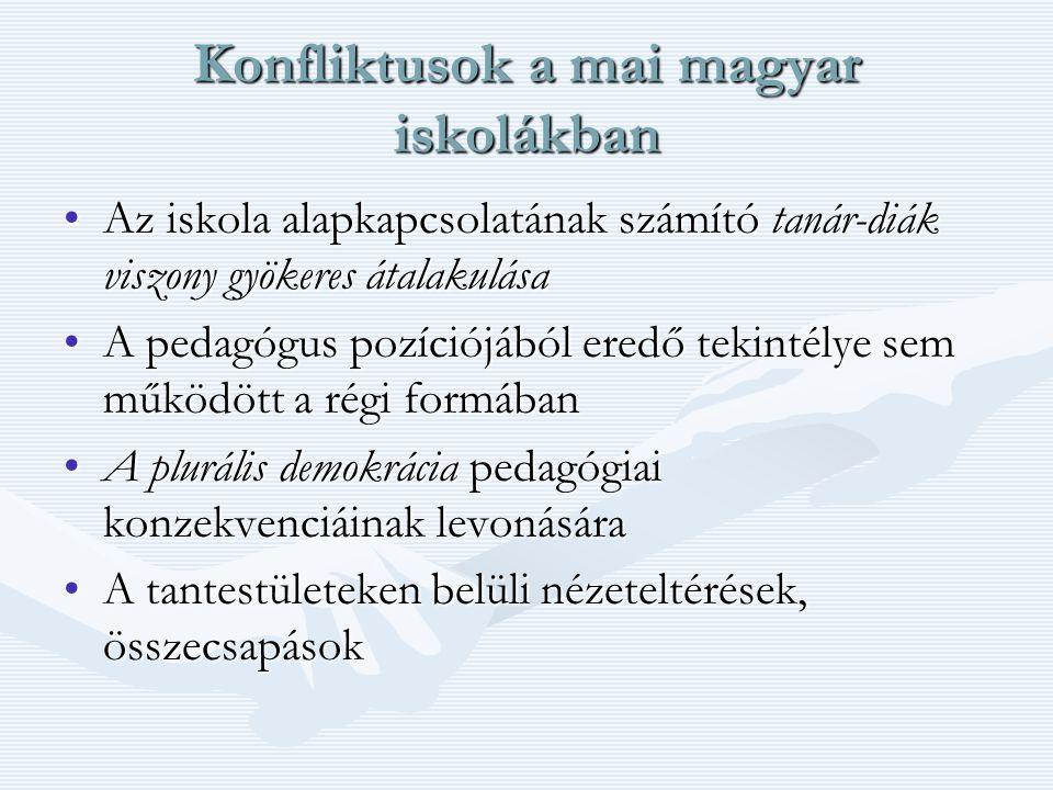 Konfliktusok a mai magyar iskolákban Az iskola alapkapcsolatának számító tanár-diák viszony gyökeres átalakulásaAz iskola alapkapcsolatának számító tanár-diák viszony gyökeres átalakulása A pedagógus pozíciójából eredő tekintélye sem működött a régi formábanA pedagógus pozíciójából eredő tekintélye sem működött a régi formában A plurális demokrácia pedagógiai konzekvenciáinak levonásáraA plurális demokrácia pedagógiai konzekvenciáinak levonására A tantestületeken belüli nézeteltérések, összecsapásokA tantestületeken belüli nézeteltérések, összecsapások