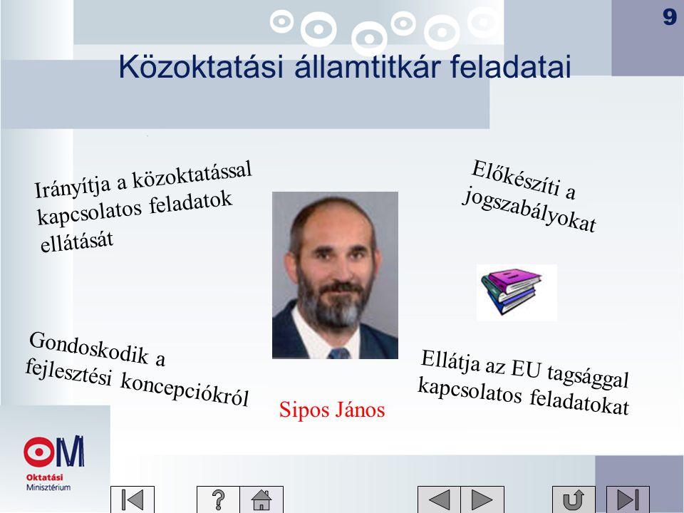 9 Közoktatási államtitkár feladatai Sipos János Ellátja az EU tagsággal kapcsolatos feladatokat Irányítja a közoktatással kapcsolatos feladatok ellátását Gondoskodik a fejlesztési koncepciókról Előkészíti a jogszabályokat