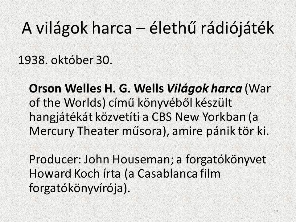 A világok harca – élethű rádiójáték 1938. október 30. Orson Welles H. G. Wells Világok harca (War of the Worlds) című könyvéből készült hangjátékát kö