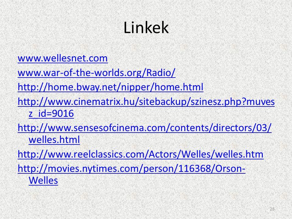 Linkek www.wellesnet.com www.war-of-the-worlds.org/Radio/ http://home.bway.net/nipper/home.html http://www.cinematrix.hu/sitebackup/szinesz.php?muves