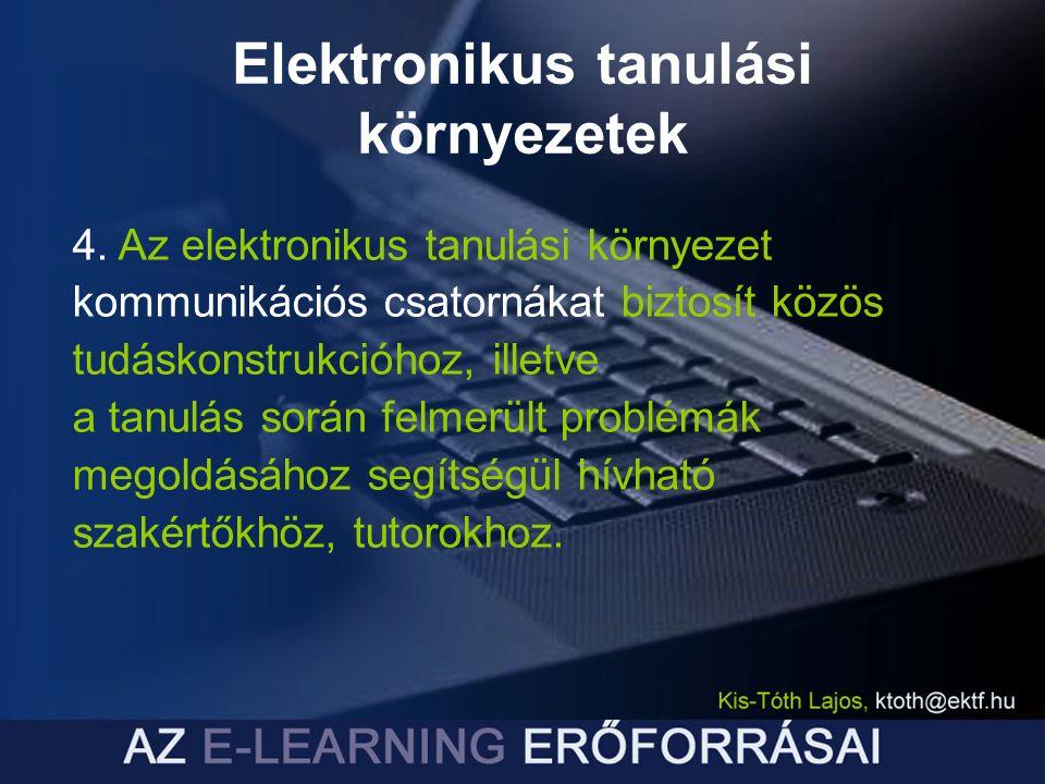 Elektronikus tanulási környezetek 4. Az elektronikus tanulási környezet kommunikációs csatornákat biztosít közös tudáskonstrukcióhoz, illetve a tanulá