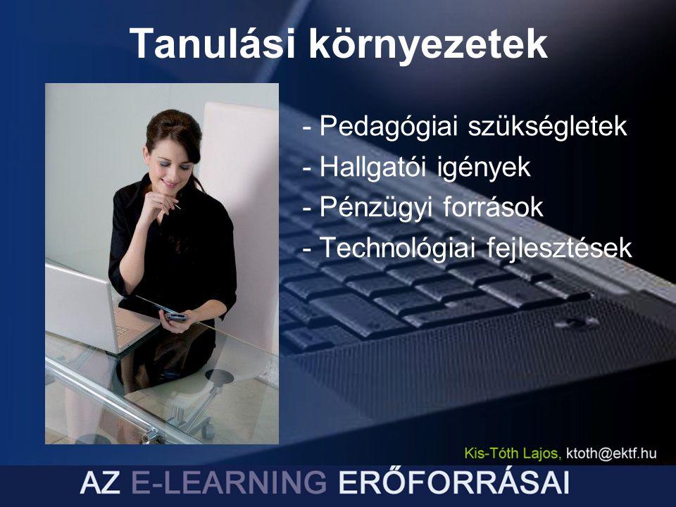 - Pedagógiai szükségletek - Hallgatói igények - Pénzügyi források - Technológiai fejlesztések Tanulási környezetek