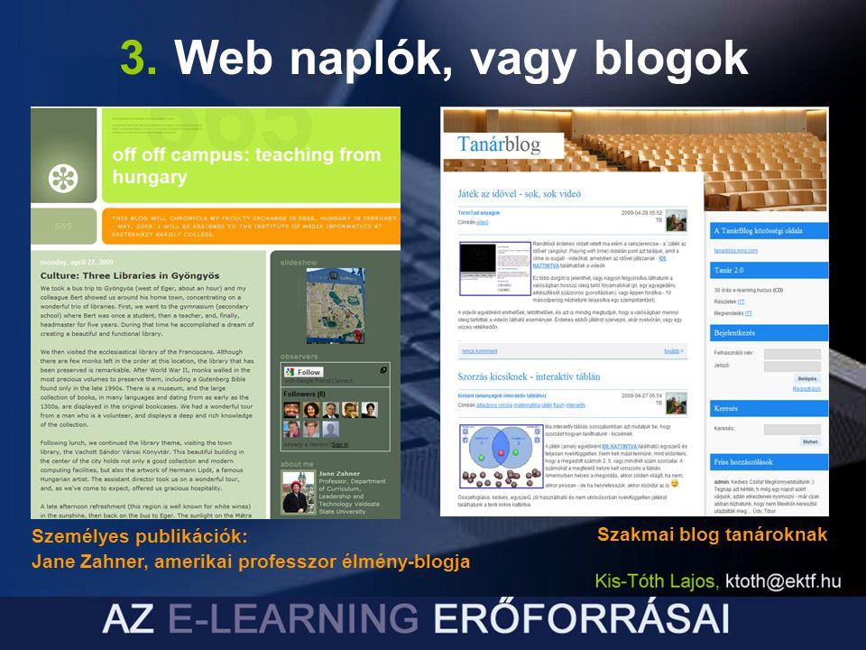 3. Web naplók, vagy blogok Személyes publikációk: Jane Zahner, amerikai professzor élmény-blogja Szakmai blog tanároknak