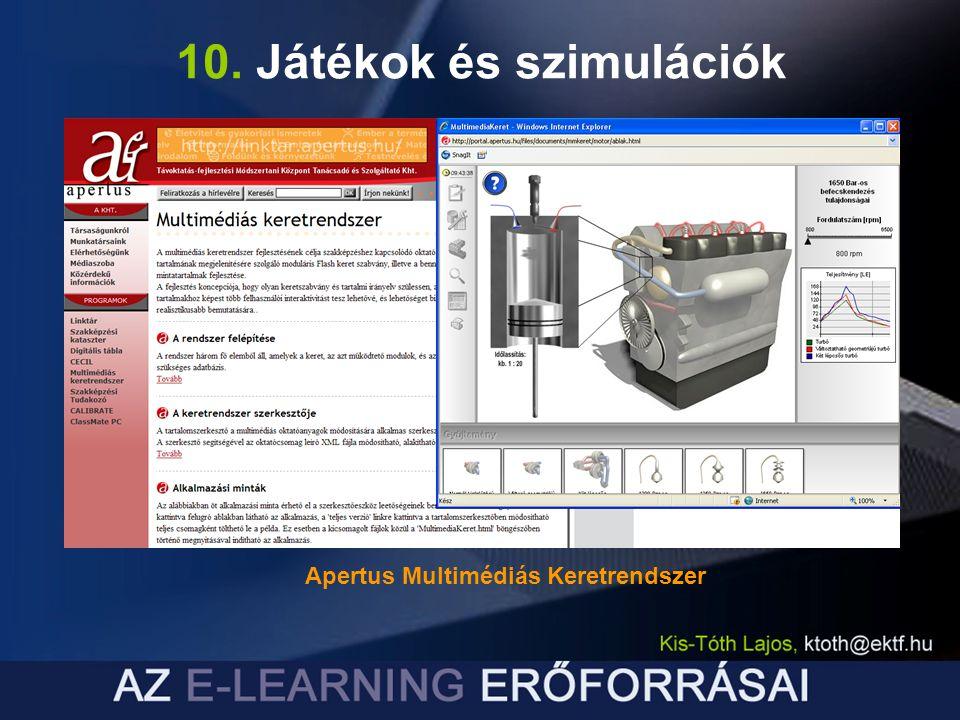 10. Játékok és szimulációk Apertus Multimédiás Keretrendszer