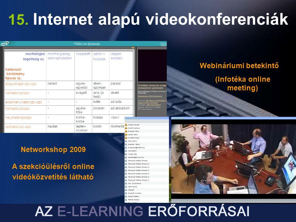 15. Internet alapú videokonferenciák Networkshop 2009 A szekcióülésről online videóközvetítés látható Webináriumi betekintő (Infotéka online meeting)