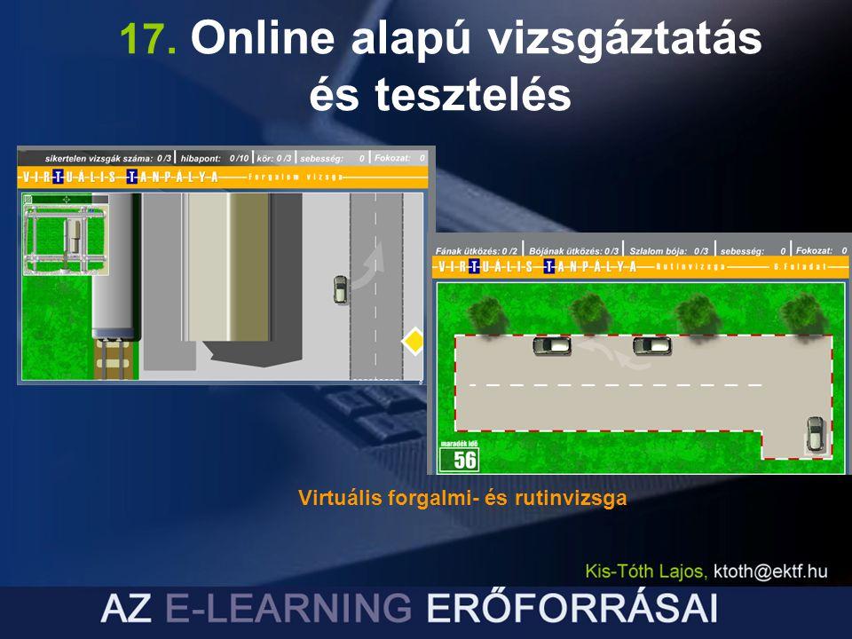 Virtuális forgalmi- és rutinvizsga 17. Online alapú vizsgáztatás és tesztelés