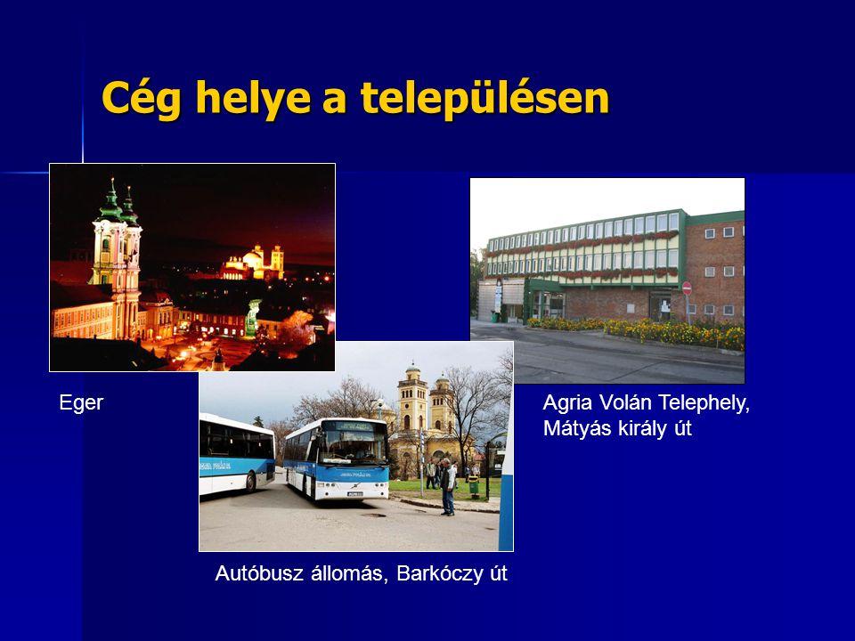 Cég helye a településen Eger Autóbusz állomás, Barkóczy út Agria Volán Telephely, Mátyás király út