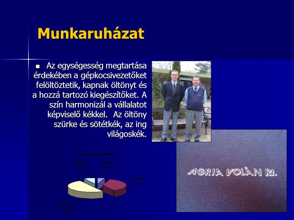 Munkaruházat Az egységesség megtartása érdekében a gépkocsivezetőket felöltöztetik, kapnak öltönyt és a hozzá tartozó kiegészítőket. A szín harmonizál