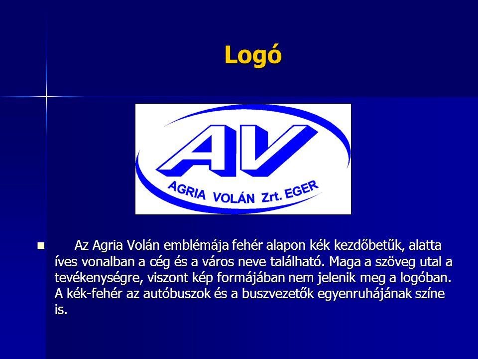 Logó Az Agria Volán emblémája fehér alapon kék kezdőbetűk, alatta íves vonalban a cég és a város neve található. Maga a szöveg utal a tevékenységre, v