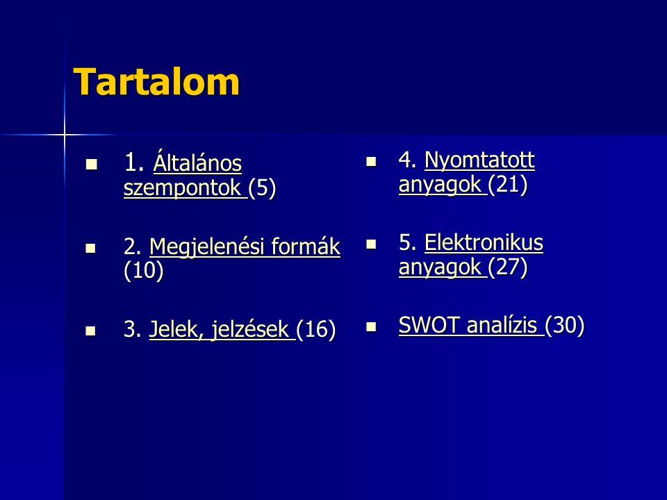 Tartalom 1. Általános szempontok (5) 1. Általános szempontok (5) Általános szempontok Általános szempontok 2. Megjelenési formák (10) 2. Megjelenési f
