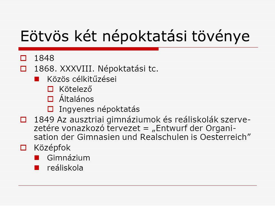 Eötvös két népoktatási tövénye  1848  1868.XXXVIII.
