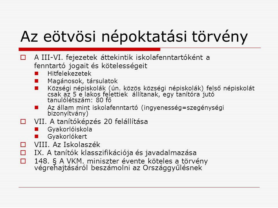 Az eötvösi népoktatási törvény  A III-VI.
