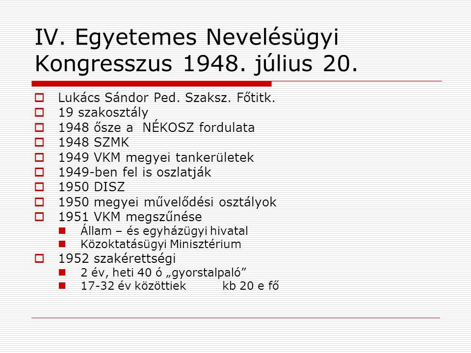 IV.Egyetemes Nevelésügyi Kongresszus 1948. július 20.