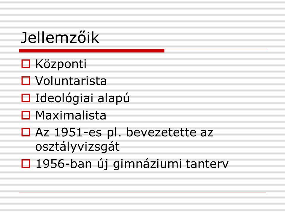 Jellemzőik  Központi  Voluntarista  Ideológiai alapú  Maximalista  Az 1951-es pl.