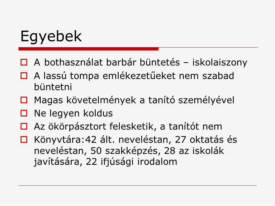 Egyéb adatok  1961 Felsőfokú Technikumok  1962 OPI Magyar Pedagógiai Társaság  1964 ITV  1970 V.